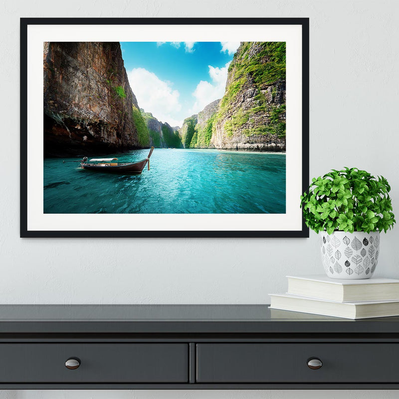 bay at Phi phi island in Thailand Framed Print - Canvas Art Rocks - 1
