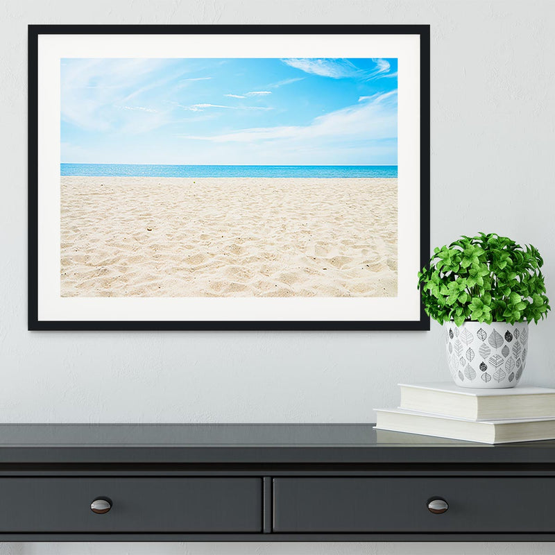 beach background with copy space Framed Print - Canvas Art Rocks - 1
