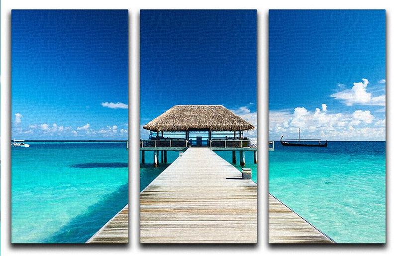 beach with jetty at Maldives 3 Split Panel Canvas Print - Canvas Art Rocks - 1
