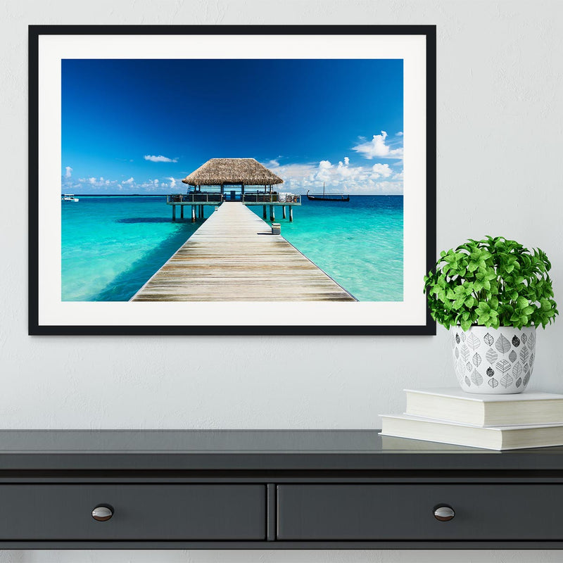 beach with jetty at Maldives Framed Print - Canvas Art Rocks - 1