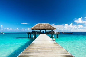 beach with jetty at Maldives Wall Mural Wallpaper - Canvas Art Rocks - 1