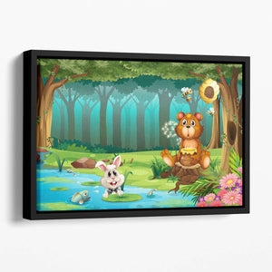 bear in a jungle Floating Framed Canvas