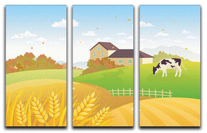 beautiful fall countryside scene with a grazing cow 3 Split Panel Canvas Print - Canvas Art Rocks - 1