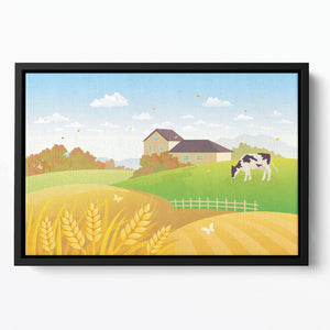 beautiful fall countryside scene with a grazing cow Floating Framed Canvas