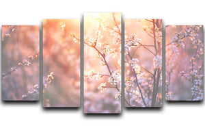 blooming tree and sun flare 5 Split Panel Canvas  - Canvas Art Rocks - 1