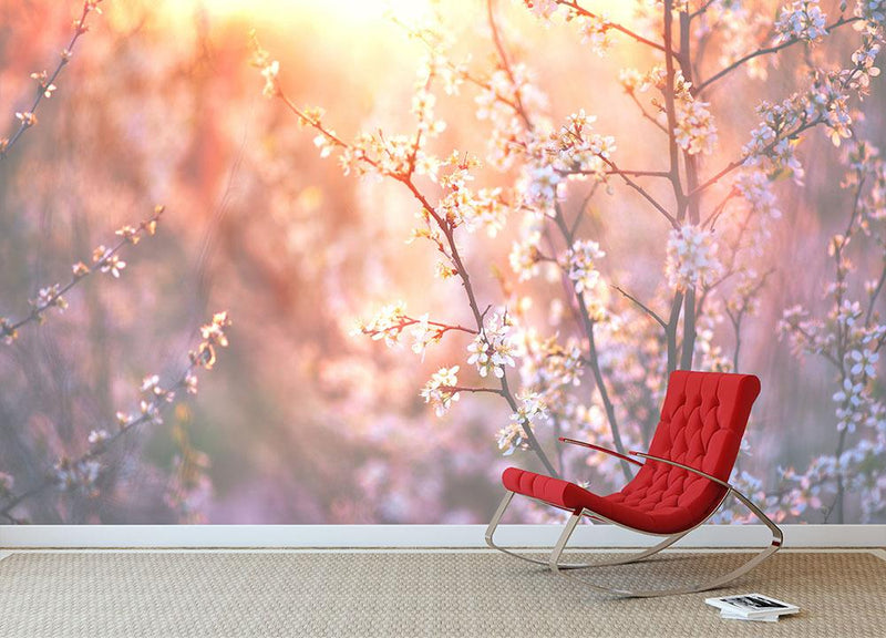 blooming tree and sun flare Wall Mural Wallpaper - Canvas Art Rocks - 2