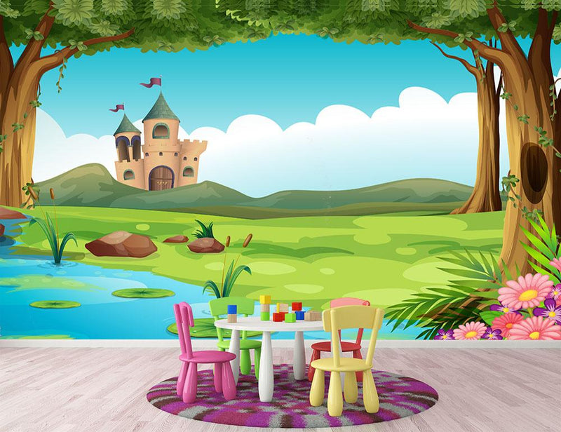 castle and a pond Wall Mural Wallpaper - Canvas Art Rocks - 1