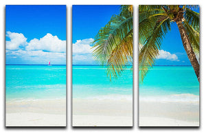 clear blue sea Beach 3 Split Panel Canvas Print - Canvas Art Rocks - 1