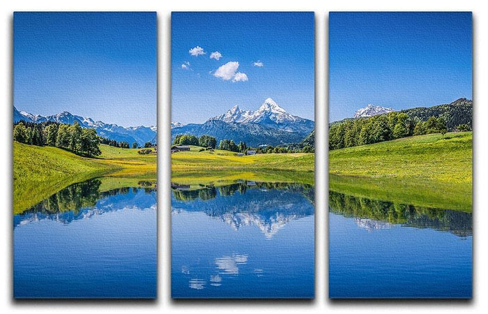clear mountain lake and fresh green 3 Split Panel Canvas Print