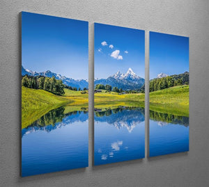 clear mountain lake and fresh green 3 Split Panel Canvas Print - Canvas Art Rocks - 2