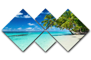 coco palms on paradise beach 4 Square Multi Panel Canvas - Canvas Art Rocks - 1