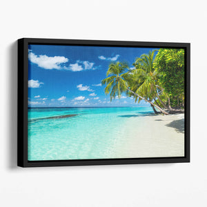 coco palms on paradise beach Floating Framed Canvas