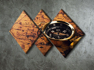 compass on vintage world map 4 Square Multi Panel Canvas  - Canvas Art Rocks - 2