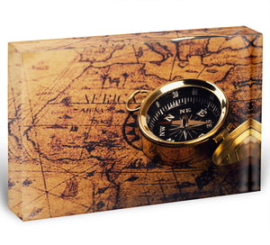 compass on vintage world map Acrylic Block - Canvas Art Rocks - 1