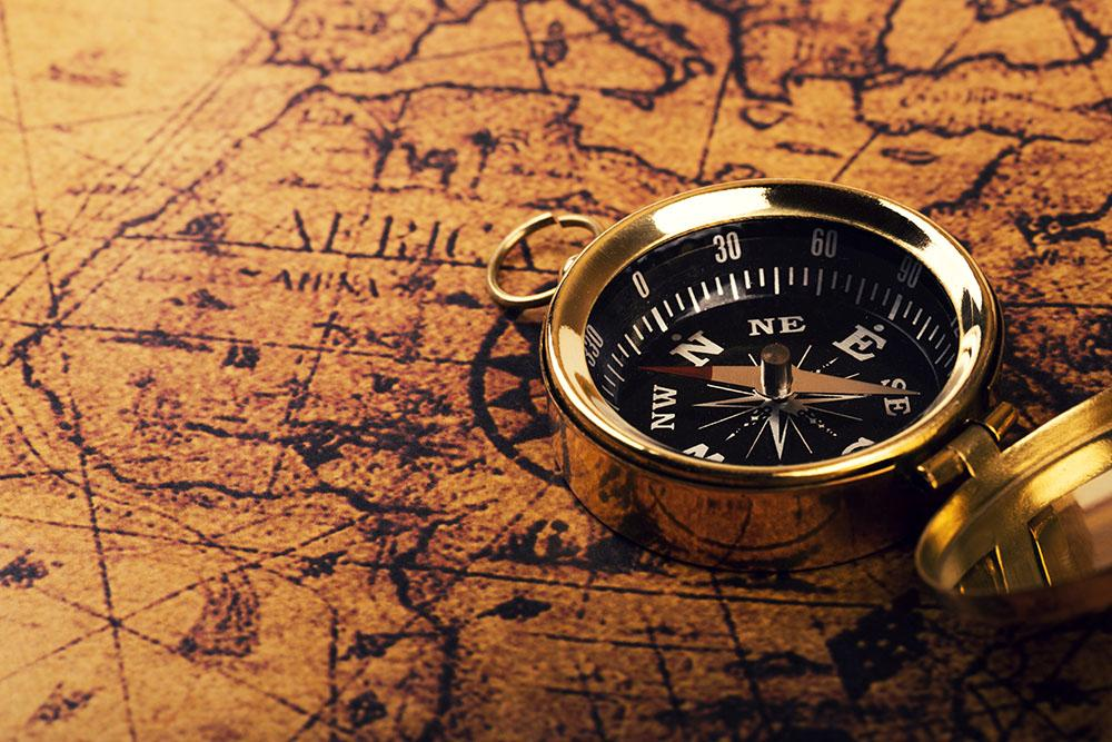 compass on vintage world map Wall Mural Wallpaper
