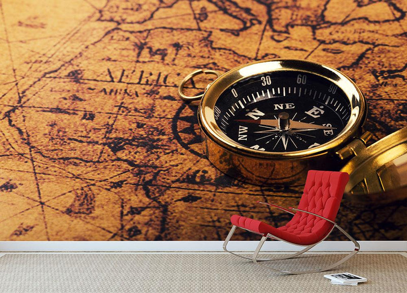 compass on vintage world map Wall Mural Wallpaper - Canvas Art Rocks - 1