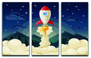 concept of space rocket ship startup on dark 3 Split Panel Canvas Print - Canvas Art Rocks - 1