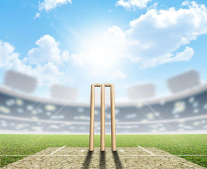 cricket pitch and set up wickets in the daytime Wall Mural Wallpaper - Canvas Art Rocks - 1