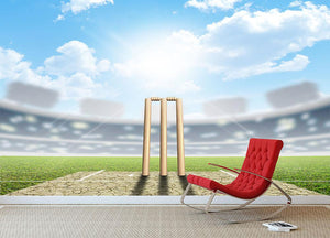 cricket pitch and set up wickets in the daytime Wall Mural Wallpaper - Canvas Art Rocks - 2