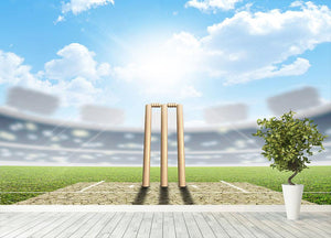 cricket pitch and set up wickets in the daytime Wall Mural Wallpaper - Canvas Art Rocks - 4