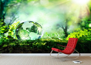 crystal globe on moss in a forest Wall Mural Wallpaper - Canvas Art Rocks - 2