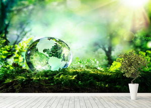 crystal globe on moss in a forest Wall Mural Wallpaper - Canvas Art Rocks - 4