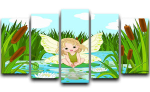 cute fairy sitting in leaf of lily 5 Split Panel Canvas  - Canvas Art Rocks - 1
