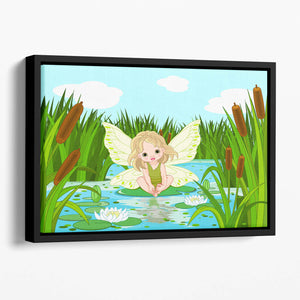 cute fairy sitting in leaf of lily Floating Framed Canvas