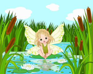 cute fairy sitting in leaf of lily Wall Mural Wallpaper - Canvas Art Rocks - 1