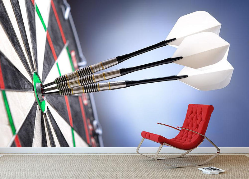 darts in bullseye of dartboard Wall Mural Wallpaper - Canvas Art Rocks - 1