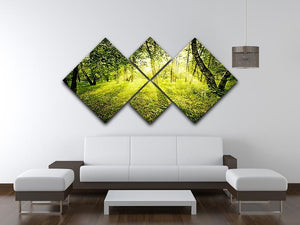deep forest on summer morning 4 Square Multi Panel Canvas  - Canvas Art Rocks - 3