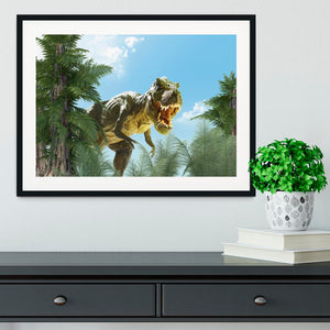 dinosaur in the jungle background Framed Print - Canvas Art Rocks - 1
