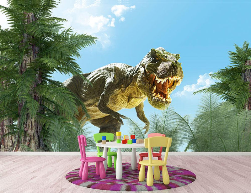 dinosaur in the jungle background Wall Mural Wallpaper - Canvas Art Rocks - 1