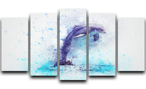 dolphin Painting 5 Split Panel Canvas  - Canvas Art Rocks - 1