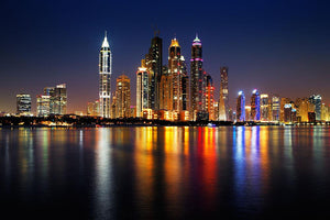 dusk Palm Jumeirah skyline view Wall Mural Wallpaper - Canvas Art Rocks - 1