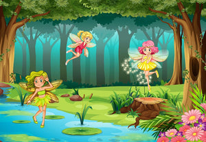 fairies flying in the jungle Wall Mural Wallpaper - Canvas Art Rocks - 1