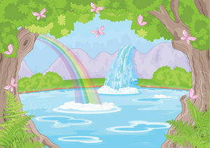 fairy landscape with Fabulous Waterfall Wall Mural Wallpaper - Canvas Art Rocks - 1