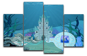 fairytale dolphin carriage on ocean 4 Split Panel Canvas  - Canvas Art Rocks - 1