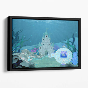fairytale dolphin carriage on ocean Floating Framed Canvas