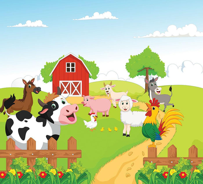 farm animals with background Wall Mural Wallpaper