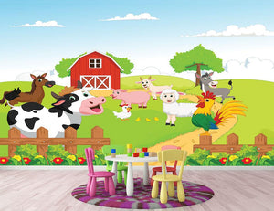 farm animals with background Wall Mural Wallpaper - Canvas Art Rocks - 2