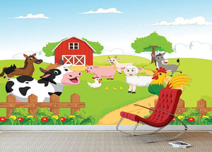 farm animals with background Wall Mural Wallpaper - Canvas Art Rocks - 3