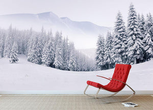 foggy winter landscape Wall Mural Wallpaper - Canvas Art Rocks - 2