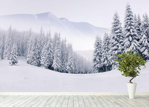 foggy winter landscape Wall Mural Wallpaper - Canvas Art Rocks - 4