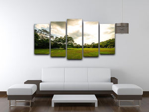 grass and bigtree in the forrest 5 Split Panel Canvas  - Canvas Art Rocks - 3