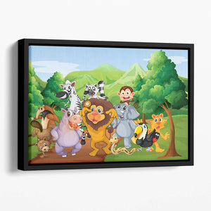 group of animals at the jungle Floating Framed Canvas