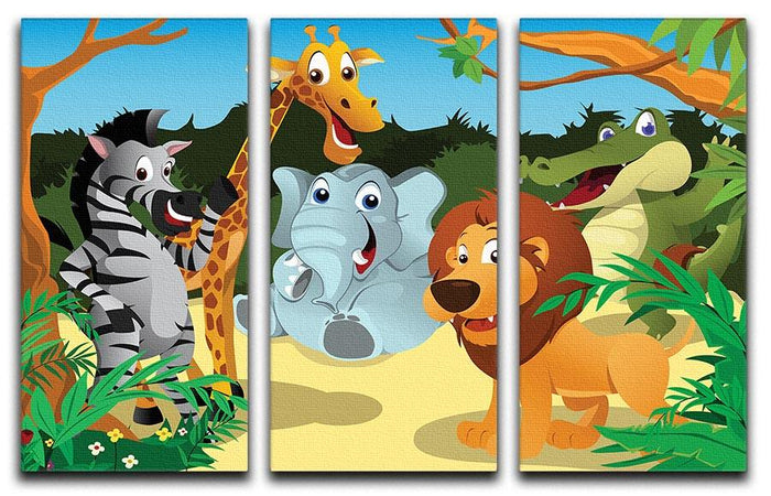 group of wild African animals in the jungle 3 Split Panel Canvas Print