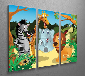 group of wild African animals in the jungle 3 Split Panel Canvas Print - Canvas Art Rocks - 2
