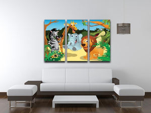group of wild African animals in the jungle 3 Split Panel Canvas Print - Canvas Art Rocks - 3