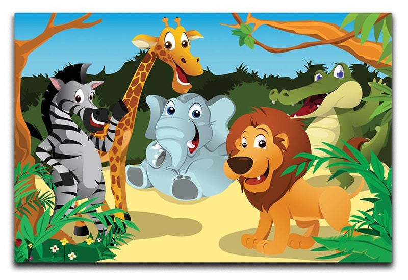group of wild African animals in the jungle Canvas Print or Poster  - Canvas Art Rocks - 1